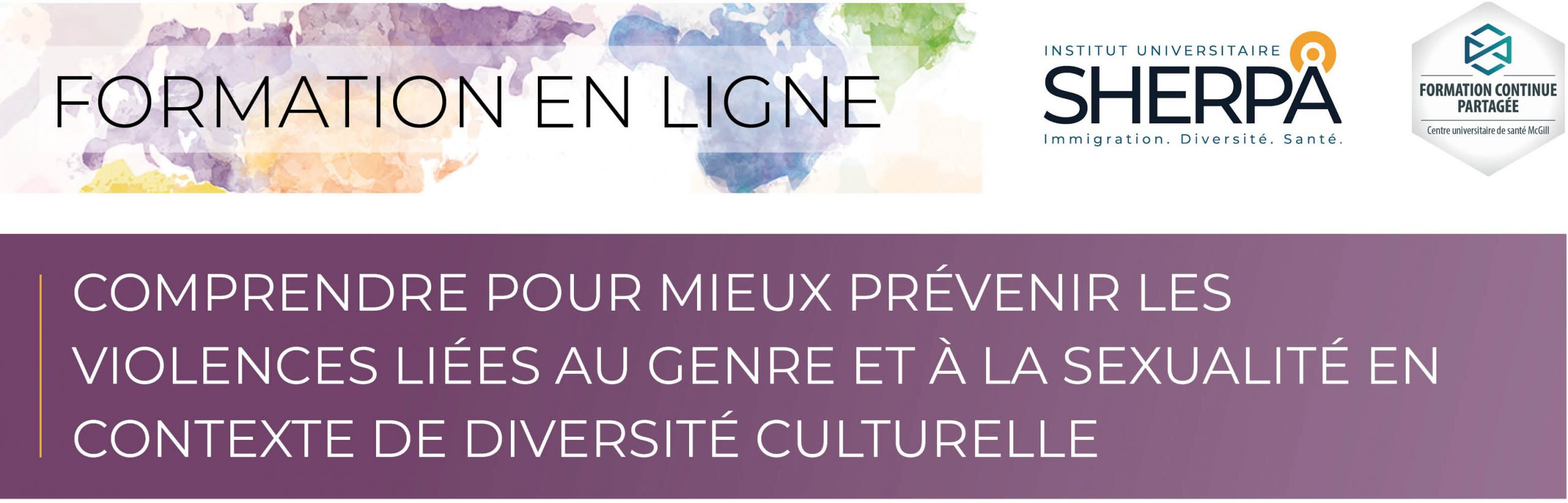 Formation en ligne. Logo SHERPA. Logo Formation continue partagée. Comprendre pour mieux prévenir les violences liées au genre et à la sexualité en contexte de diversité culturelle
