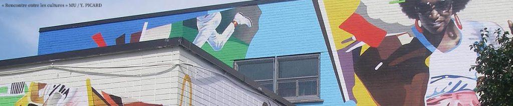 murale sur un centre communautaire de Montréal-Nord